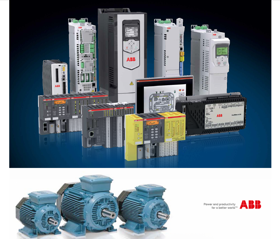 ABB 工业自动化和传动- 变频器PDL ,可编程控制器PLC,人机界面/触控屏HMI,交流电机AC Motor (18RTQETO)